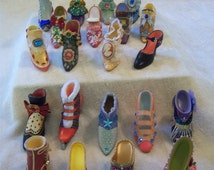 Porcelain victorian decorative miniature shoe collection/21 vintage miniature shoes/Shoe collection by ADG/Victorian shoe ornaments
