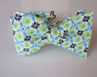 Boy Bow Tie - Geometric Blues and Green - Fabric Remnant