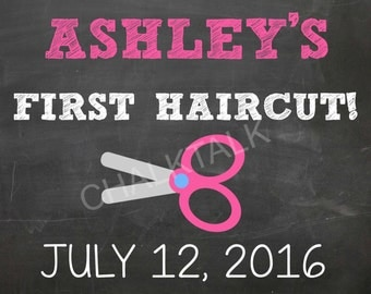 My First HairCut Chalkboard - My First HairCut - My First HairCut Keepsake - 1st Haircut - Barber - Digital File - Photo Prop