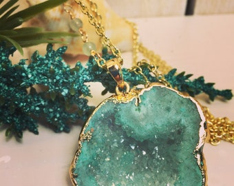 Long layering necklace/Druzy pendant necklace/Gold chain/Statement necklace