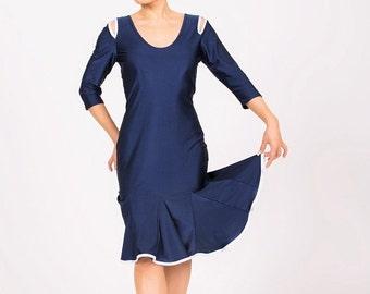 Blue tango salsa latin rhythm dance dress size XS, S, M, L,XL