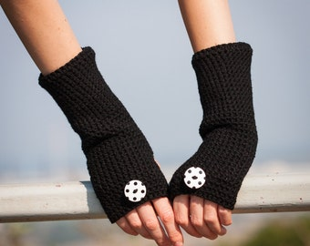 Black Polka  Fingerless Gloves / Black White Dotted Arm Warmers /Polka Buttons Crohet Gloves / Polka Accessories /Fall Winter Christmas Gift