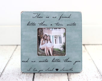 TWIN Sister Gift Personalized Picture Frame Quote Frame Birthday Best Friend Twins Siblings