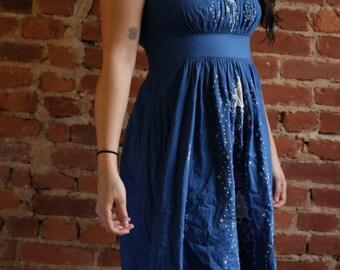 90s Vintage Royal Blue Patterned Dress