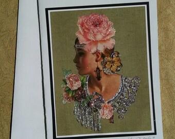 Pink Rose Greeting Card- Pink Roses, Glamorous, Lady, Chandelier, Rose, Glamour, Blonde, Bridal Shower