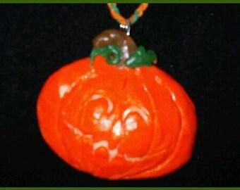 Item# ssnl-00102-hcj HALLOWEEN Pumpkin Jack o Lantern GLOW Pendant with braided Green and Orange Hemp Cord Necklace
