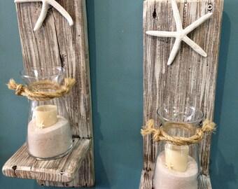 Set of 2 Reclaimed Wood Sconces