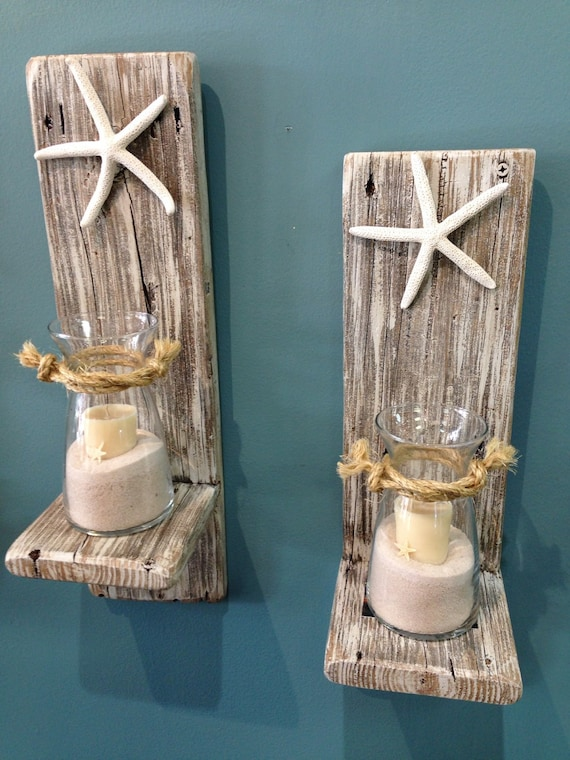 Set of 2 reclaimed wood sconces with starfish wall