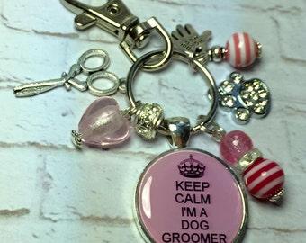"Dog groomer keyring, Dog groomer keychain, dog grooming, bag charm ""Keep calm i'm a Dog Groomer"" handmade gift"