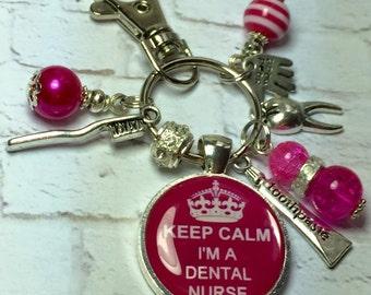Dental nurse keyring, dental nurse keychain, handmade bag charm, dentistry gift