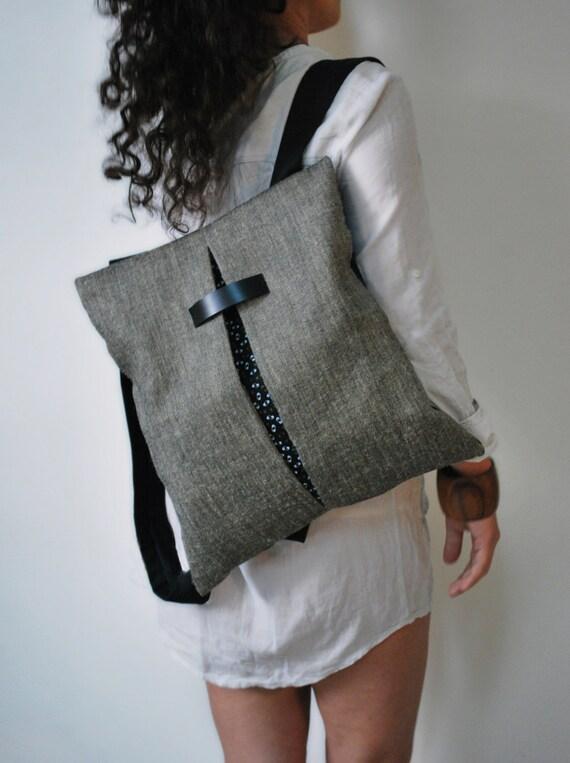 Mochila de dise o nico y mensajero bolsa yute gris bolso lona for Disenos de bolsos de tela