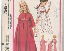 McCalls 1964 Vintage Pattern #7545 Barbie, Size 4. Girls Nightgown, Robe and Matching Barbie Doll Costume