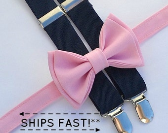 Pink Bow Tie & Navy Suspenders -- Ring Bearer Outfit -- Boys Wedding Outfit
