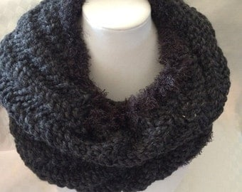 Hand Knit Cowl Infinity Charcoal