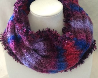 Hand Knit Cowl Infinity Prism