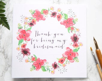 Thank You For Being My Bridesmaid - On The Day Wedding Card - Floral Wreath - Wedding Stationery