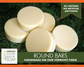 Handmade Goat Milk Soap 3oz Round Bar - pure all natural soaps made with essential oils, sustainable oils, fresh raw goat milk