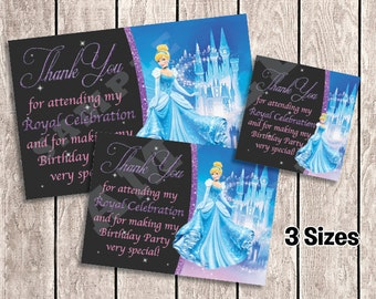 3 Sizes - Cinderella Thank You Cards / Favor Tags for Birthday Party | Printable | INSTANT DOWNLOAD