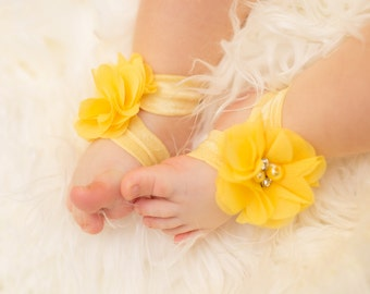 Yellow Baby Barefoot Sandals, Yellow Flower Barefoot Sandals, Infant sandals, Yellow Baby Barefoot Sandals, Toddler barefoot