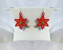 Christmas poisentia lace earrings - FSL - dentelle - Machine embroidery design/INSTANT DOWNLOAD