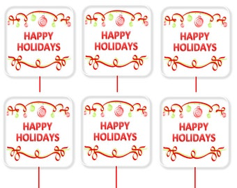 Happy Holidays Red and White Birthday Party Cupcake Decoration Toppers Picks -24pack