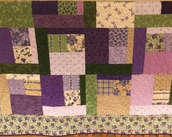 Modern Geometric Purple, Lavendar, Green, Gold, Cream Quilt Throw with Shamrock Quilting