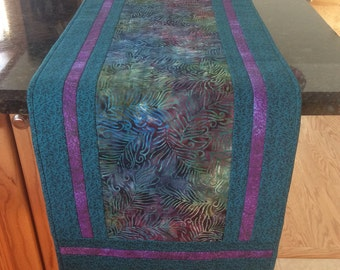 Quilted table runner, teal and lavender table runner, long batik table runner, hand-quilted table runner