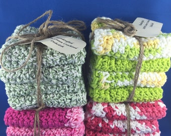 Handcrafted Crocheted Dishcloth set of 4