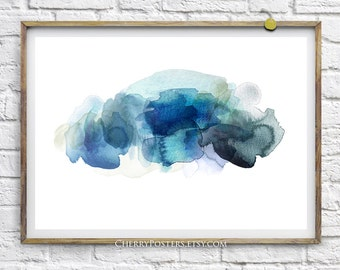 Rain Cloud - Watercolor Print - Home decor wall art, watercolor painting, watercolor art, cloud rain, watercolor storm cloud, cloud poster.