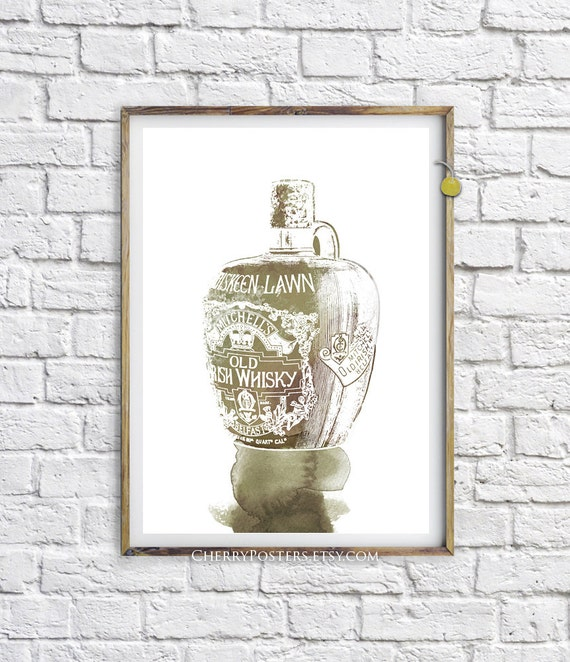Irish Whisky Watercolor Print Home Decor Wall Art