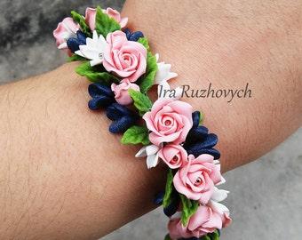 Polymer Clay Jewelry, Flower Charm Bracelet  , Handmade Flowers