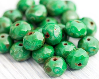 Green Rust Rondelle Beads, Czech Glass Beads, Czech Picasso Beads, Fire Polished Faceted Donut Beads, 6 x 8 mm, 12 Pc, CB102