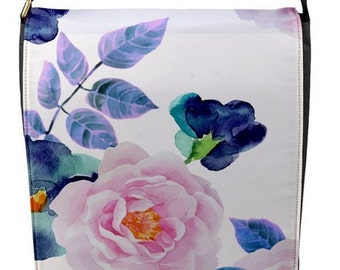 Designer Messenger Handbag Camillias Pink roses Blue ipad Bag Removable changable Flap cover