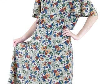 ON SALE Lovely Vintage 70's Does 30's Deco Floral Tea Dress