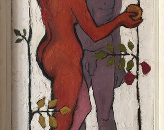 Adam and Eve by Mary Piercy Hornsey College of Art, impasto oil on board