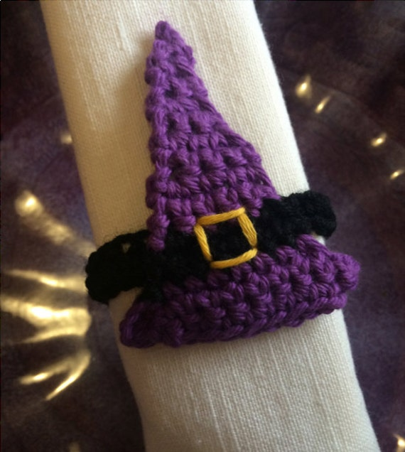 Crochet Pattern Halloween Witch Hat Applique Napkin Ring