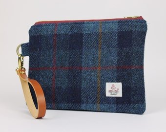 Harris Tweed Wristlet Navy Check