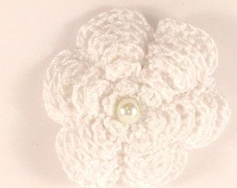 Crochet rose barrette
