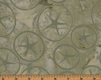 Green Sand Dollar Batik- Kahuna Batik- Freshwater Designs- 100% Cotton Fabric