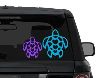 Turtle Hawaii Hearts decal sticker for car, truck, laptop in ANY COLOR die cut vinyl