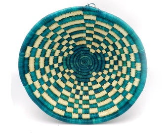 Large Round Handwoven African Basket in Teal Green and Checkered Design Made in Rwanda