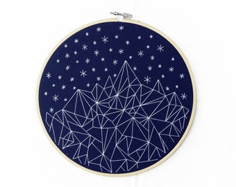 CUSTOM Mountains and Stars Geometric Embroidery Hoop Art