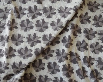 Grey fabric, Cotton Fabric, Printed Cotton, Hand Block Print, Cotton Fabric by the yard, Indian Fabric, Block Print Fabric, Natural Fabric