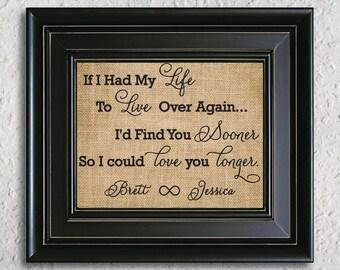 If I had my life to live over : romantic love wall decor, Wedding Gift, Gift for her, Wedding Decor, Bridal Shower Decor, Burlap Print-6B