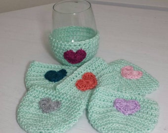 Wine Glass Cozies, Cup Cozy ~set of 6~ *shown in soft green*