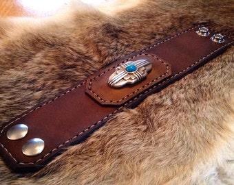 Southwestern leather cuff