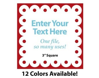 """EDITABLE Printable 3"""" SCALLOP Square - Red - Address Labels, Business Card, Price Tags, Gift Tags & more - Change text again and again"""