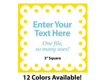 """EDITABLE Printable 3"""" SCALLOP Square - Yellow - Address Labels, Business Card, Price Tags, Gift Tags & more - Change text again and again"""