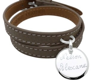 Bracelet leather double rounds silver customize