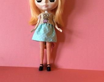blue polka dots skirt